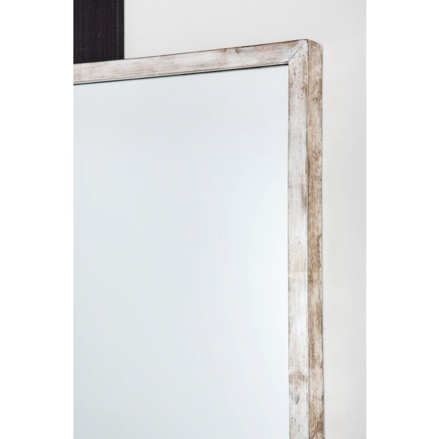 Modern Paul Marra Negative Space Mirror with Distressed Silver Inner Frame For Sale - Image 3 of 5