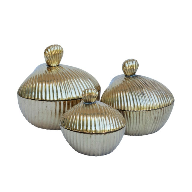 Brass Apple Shaped Trinket Boxes, Set of 3 For Sale In New York - Image 6 of 6