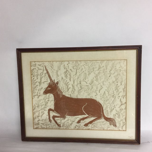 Brown Mid-Century Framed Unicorn Rubbing For Sale - Image 8 of 8