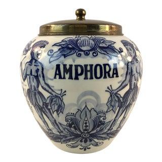 Vintage Blue and White Delft Amphora Ginger Jar With Lid For Sale