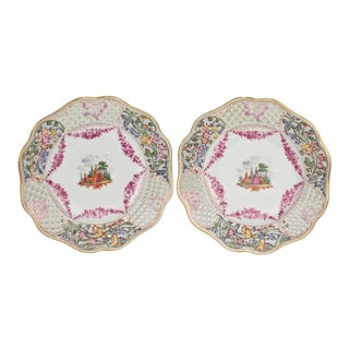Antique Dresden Hand-Painted Reticulated Cabinet Plates - A Pair For Sale