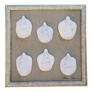 1980s Marc Sijan 5 Faces Plaster Wall Sculpture For Sale