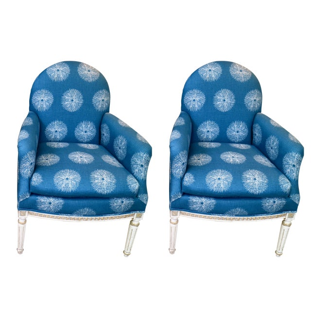 Blue Pair of Blue French Chairs For Sale - Image 8 of 8