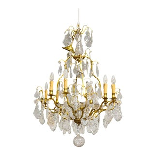 19th Century Eight-Light French Bronze Dore and Crystal Chandelier For Sale