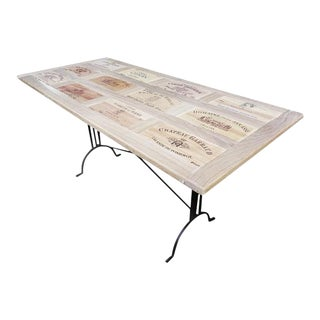 Designer Made Reclaimed Wine Crate Solid Wood Bistro Dining Table For Sale