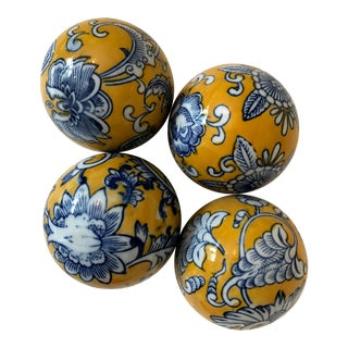 Yellow, Blue and White Decorative Ceramic Balls - Set of 4 For Sale