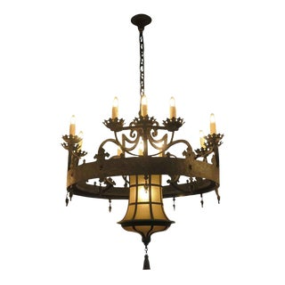12 Arm Wrought Iron Chandelier For Sale