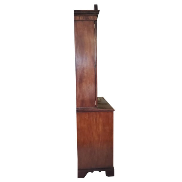 Chippendale Baker Mahogany Collector's Edition Bookcase Secretary For Sale - Image 3 of 11