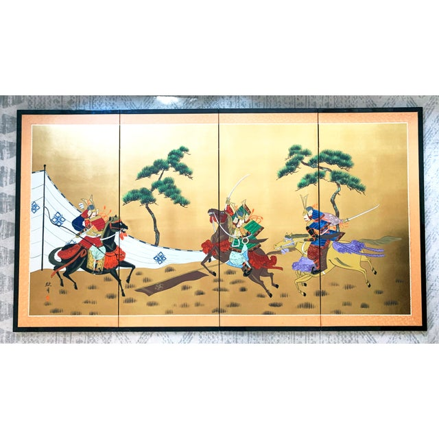 Vintage Japanese Gold-Leaf Byobu 4 Panel Folding Screen with Three Samurai on Horseback and Pines For Sale - Image 13 of 13