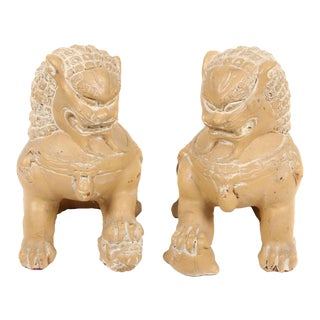 Vintage Glazed Terra Cotta Foo Dogs - a Pair For Sale