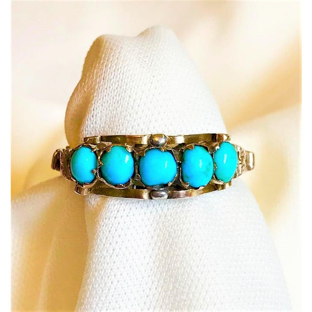 Antique 15k Gold and Turquoise Ring For Sale In Los Angeles - Image 6 of 7