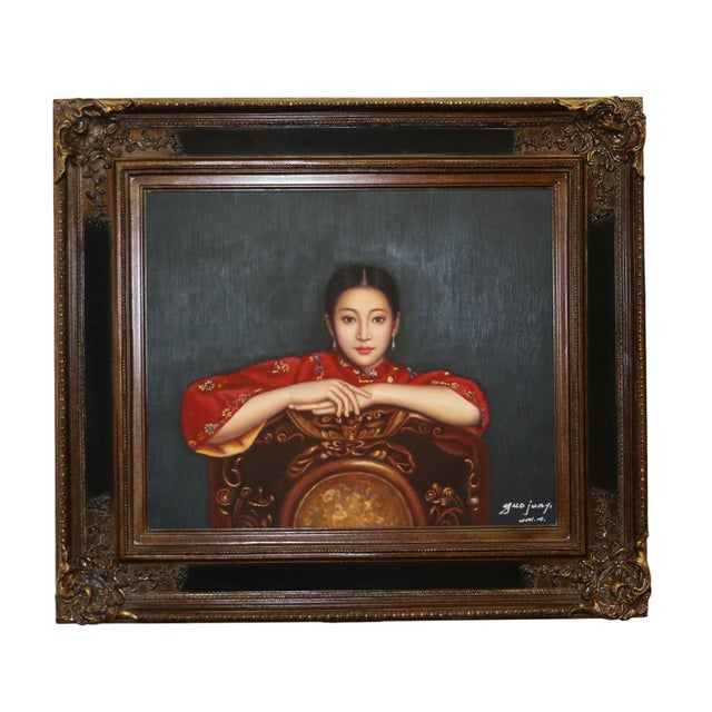 Chinese Woman Portrait Oil Painting by Guo Junyi For Sale