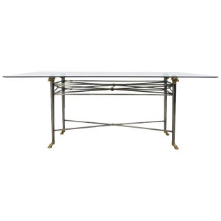 Italianate Dia Steel and Brass Dining Table With Ram's Heads and Hoof Feet For Sale