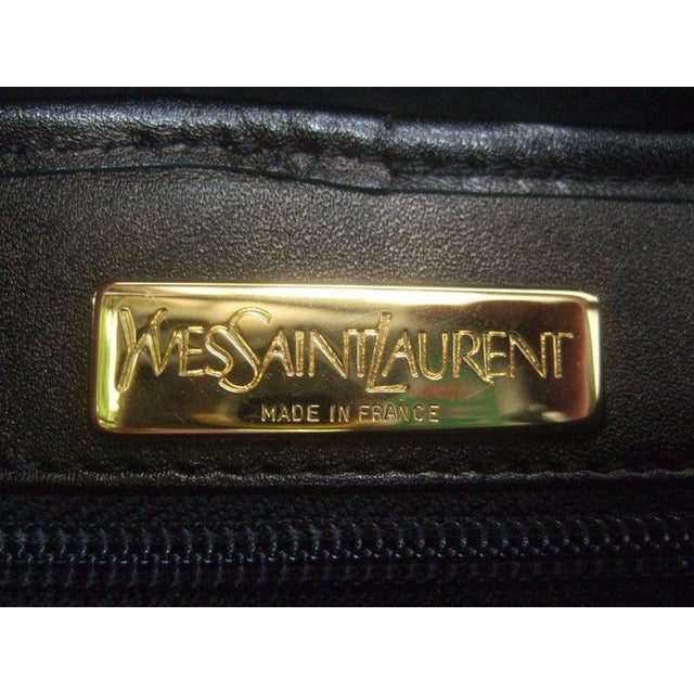1990s Yves Saint Laurent Chic Black Suede Ysl Embroidered Handbag C 1990s For Sale - Image 5 of 8