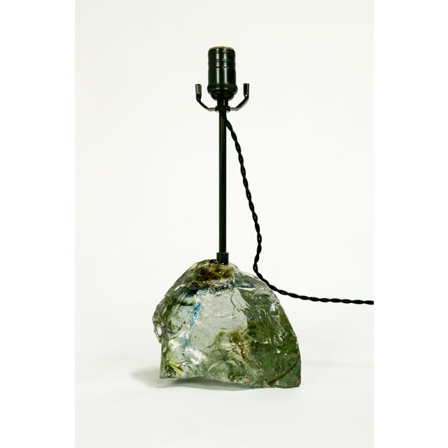 Amber Sea Green & Clear Cullet Glass Rock Lamp For Sale In San Francisco - Image 6 of 9