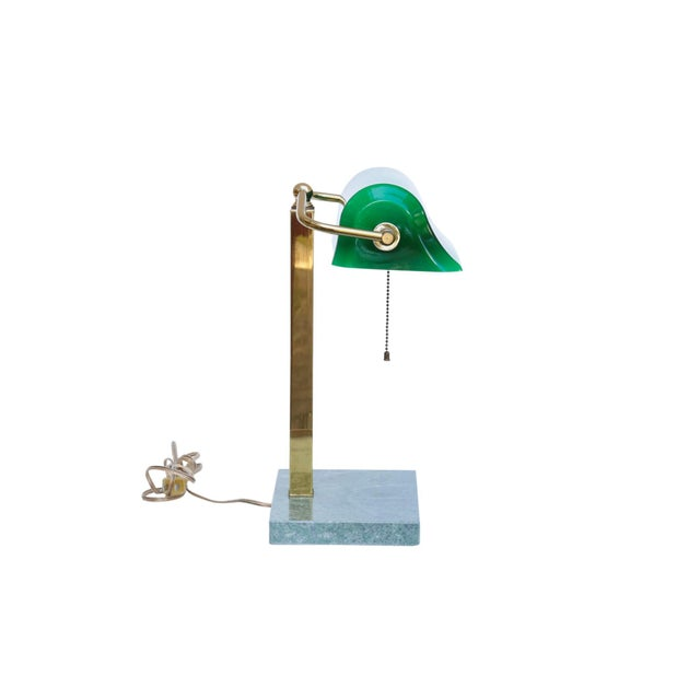 Americana Green Glass, Brass & Marble Banker's Desk Lamp For Sale - Image 3 of 10
