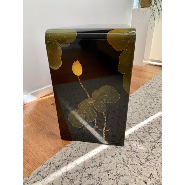 1970s Final Markdown 1970s Asian Modern Lacquered Lily Pad and Lotus Leaf Waterfall Console Table For Sale - Image 5 of 12