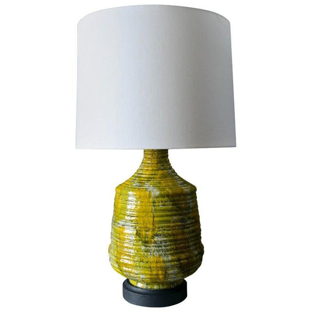 Electric Yellow Large Textured Ceramic Table Lamp, Circa 1975 For Sale - Image 8 of 8