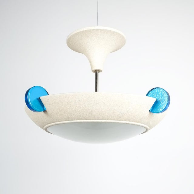 Memphis Post Modern Memphis Style Semi Flush Mount or Chandelier, Italy For Sale - Image 3 of 13