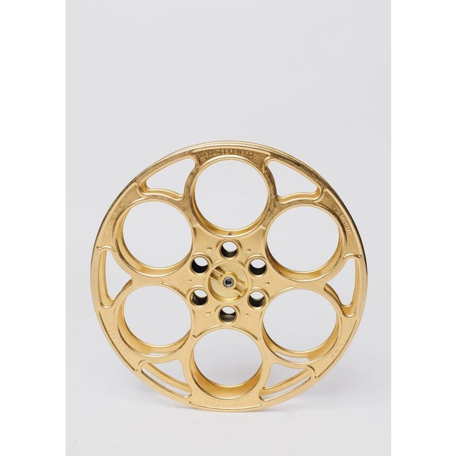 Mid-Century Modern Decorative Brass Film Reel For Sale - Image 3 of 3