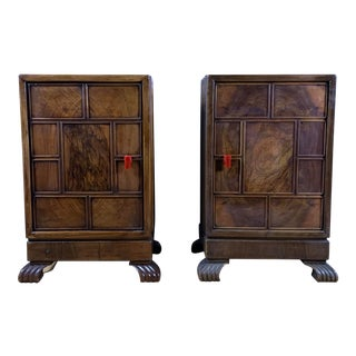 1930s Continental Art Deco Paneled Mahogany Nightstands - a Pair For Sale