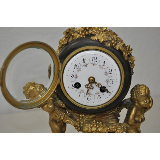 Bronze Auguste Moreau Bronze & Marble French Mantle Clock 19th Century For Sale - Image 7 of 10