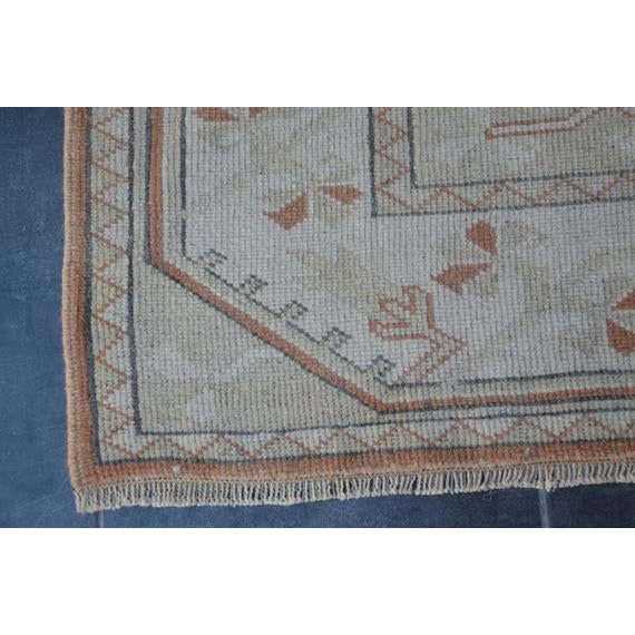 1960s Vintage Turkish Hand-Knotted Rug - 4′1″ × 5′11″ For Sale - Image 9 of 10