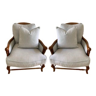Alfonso Marina French Country Fruitwood & Rush Seat Bordeaux Chairs - a Pair For Sale