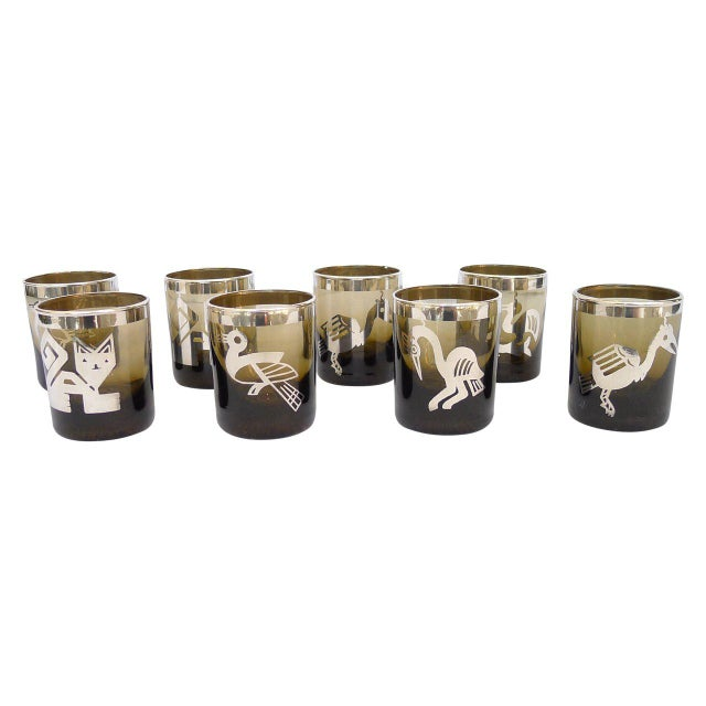 Small Smoke Tumblers Silver Meso-American Design - Set of 8 For Sale In San Francisco - Image 6 of 6