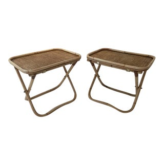Signed Gabriella Crespi Rattan Collapsible Tray Tables, Pair