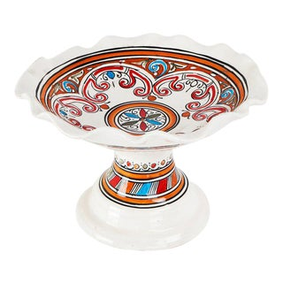 Moroccan Handpainted Ceramic Coupe Plate For Sale