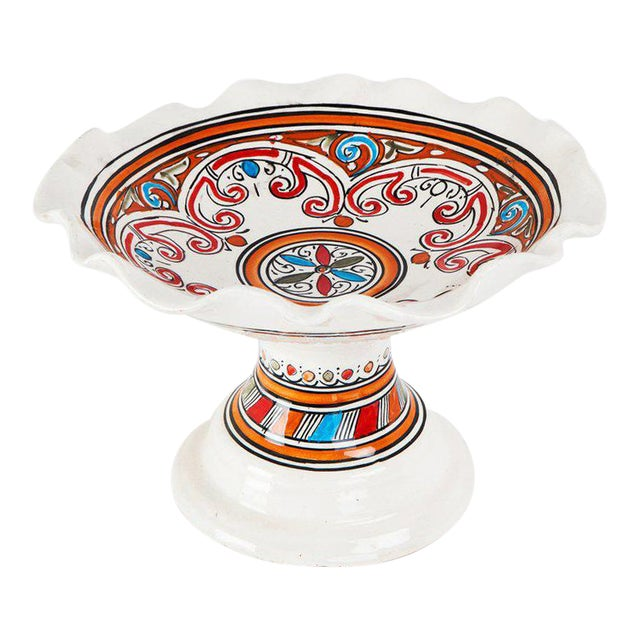 Moroccan Handpainted Ceramic Coupe Plate - Image 1 of 3