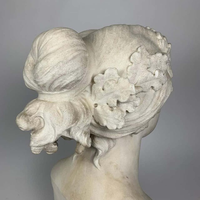 19th Century After the Greek Archaic Carved White Marble Bust of Calliope For Sale - Image 4 of 7