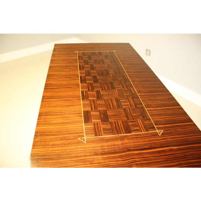 Brass 1940s Art Deco Exotic Macassar Ebony Writing Desk/Dining Table For Sale - Image 7 of 13