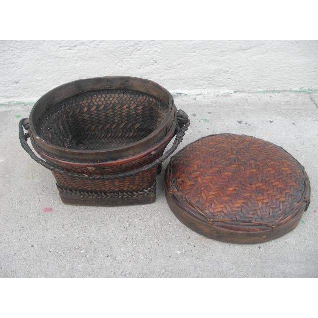 Early 20th Century Antique Lidded Rice Basket For Sale - Image 4 of 7