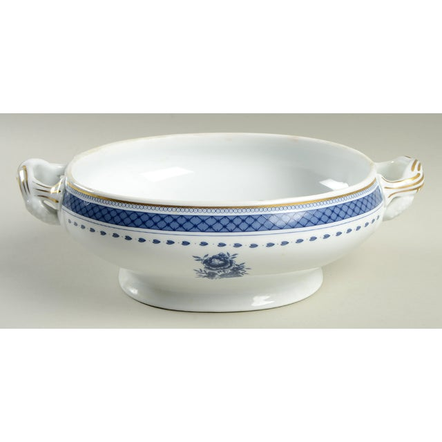 Mottahedeh Mottahedeh Indigo Covered Serving Bowl For Sale - Image 4 of 11