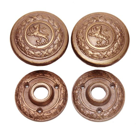 American Historical Antique Cast Bronze Lion Door Knobs - a Pair For Sale - Image 3 of 8