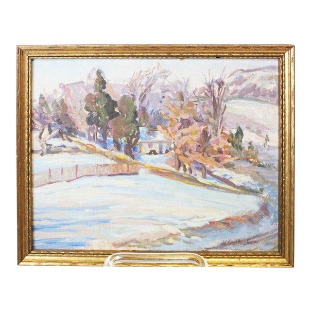 Impressionist Winter Landscape Painting For Sale