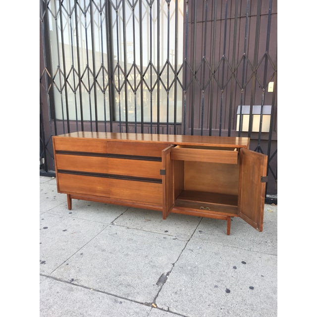 Black Mid Century Lowboy Dresser With Hidden Vanity by H.Paul Browning for Stanley Furniture Co. For Sale - Image 8 of 13