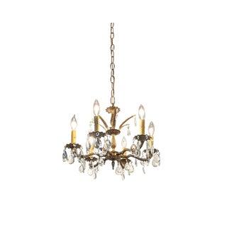 Hollywood Regency Ornate Solid Brass & Crystal Chandelier For Sale
