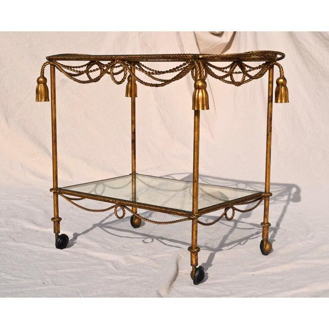 Mid 20th Century Italian Gilt Bar Cart For Sale - Image 5 of 11