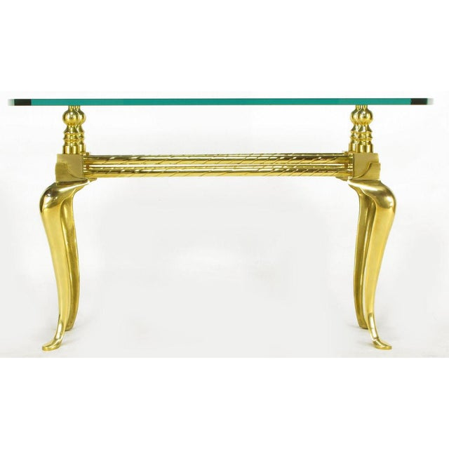 1970s Cast & Polished Brass Cabriole Leg Console Table For Sale - Image 5 of 8