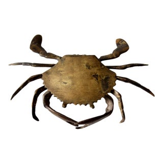 Vintage Brass Crab Figurative Box For Sale