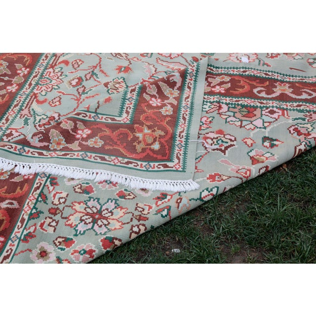 1950s Vintage Floral Wool & Cotton Kilim - 6′8″ × 9′4″ For Sale - Image 12 of 13