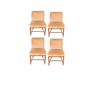 Mid Century Michael Taylor for Baker Furniture Velvet Dining Chairs - Set of 4