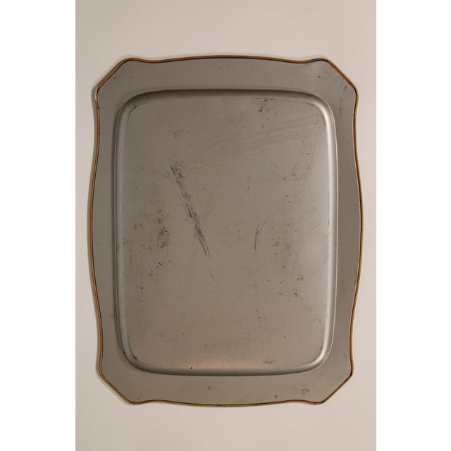 Black Vintage French Black Tole Tray With Floral Design For Sale - Image 8 of 9