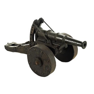 Antique Iron Cannon Model with Wooden Wheels For Sale