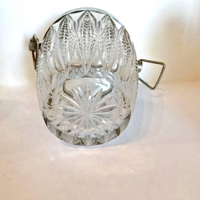 Neoclassical Cut Crystal and Silver Plate Ice Bucket, 20th Century For Sale - Image 3 of 5