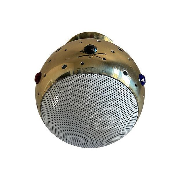 Fabulous 1960s modern semi-flush mount light by Progress Lighting featuring a perforated gold metal globe in the style of...