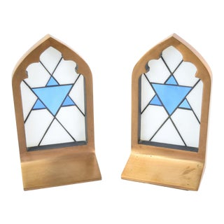 Vintage Bronze & Stained Glass Jewish Star of David Bookends - A Pair